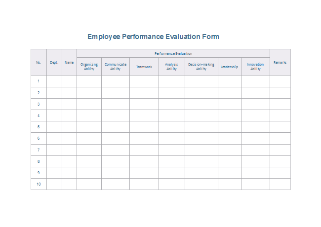 Download Evaluation Form Templates for Free – Employee Performance Evaluation Form Free Download