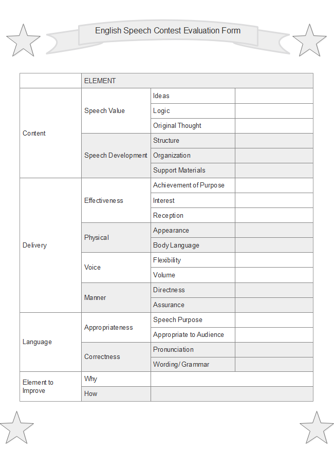 English Speech Contest Evaluation Form