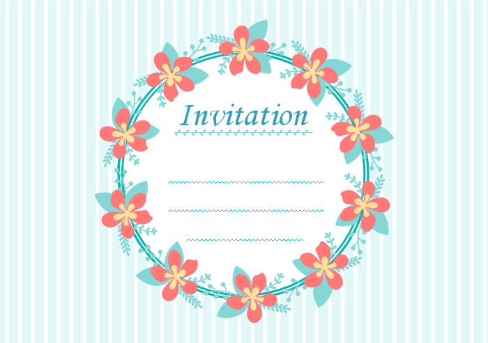Invitation Card with Flower Wreath