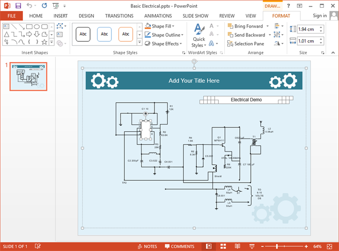 create circuit diagram for ppt rh edrawsoft com schematic diagram powerpoint
