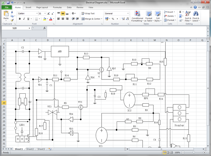 create circuit diagram for excel. Black Bedroom Furniture Sets. Home Design Ideas