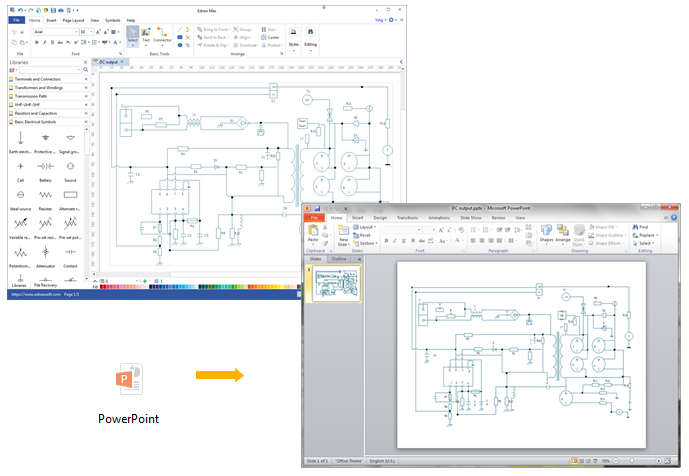 create circuit diagram for ppt rh edrawsoft com schematic diagram powerpoint circuit diagram ppt