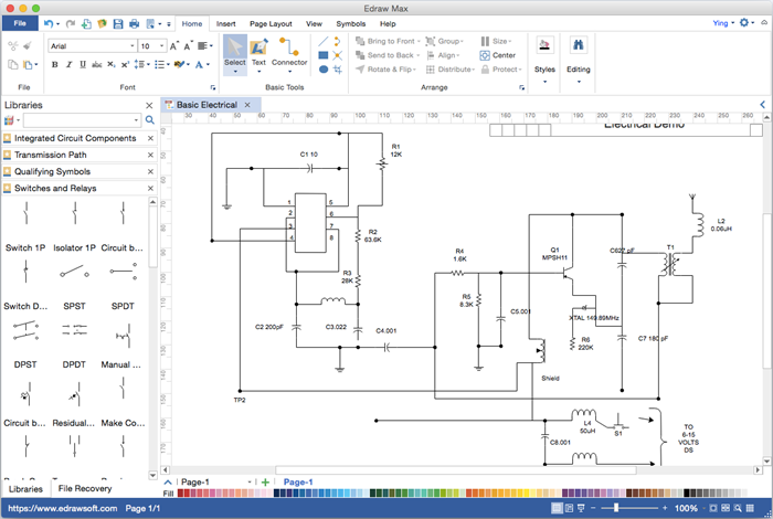 circuit diagram visio alternative for mac windows and linux rh edrawsoft com House Electrical Schematics Electrical Schematics For Dummies