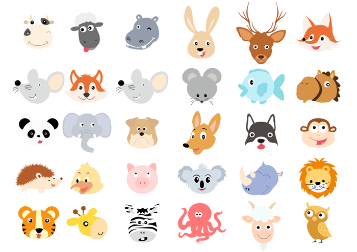 Animal Head Clipart Collection
