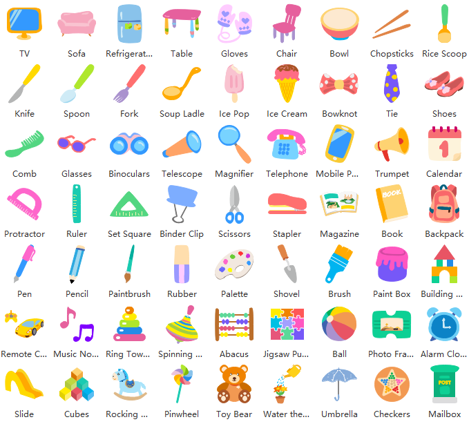 common objects clipart