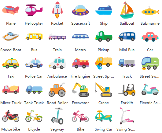 kids transportation clipart