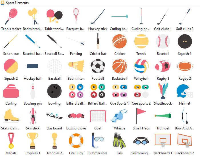 Sport Element Clipart library Edraw