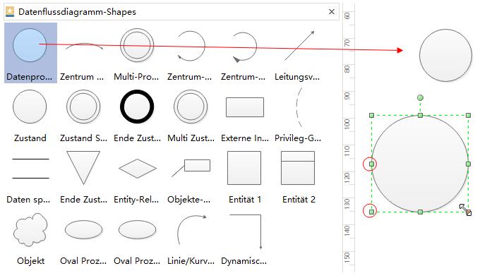 Datenflussdiagramm-Formen hinzufügen