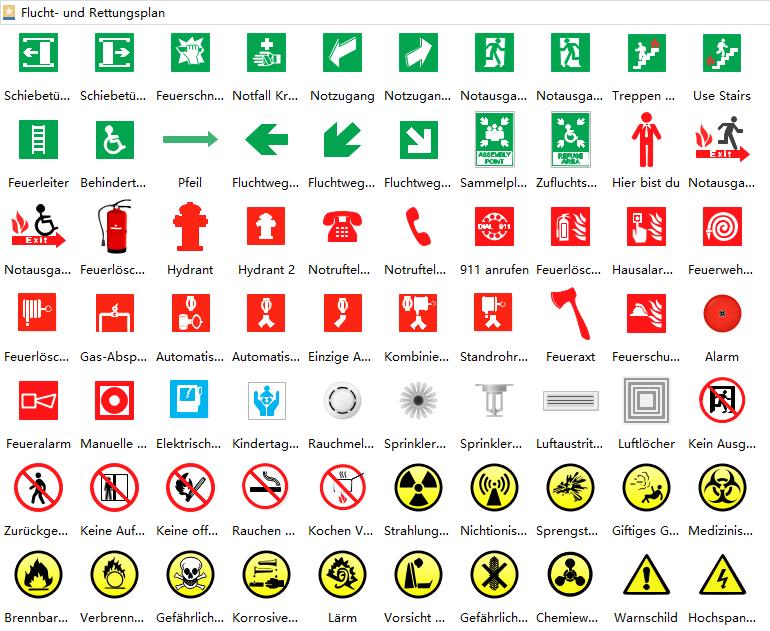 Flucht- und Rettungsplan Symbole
