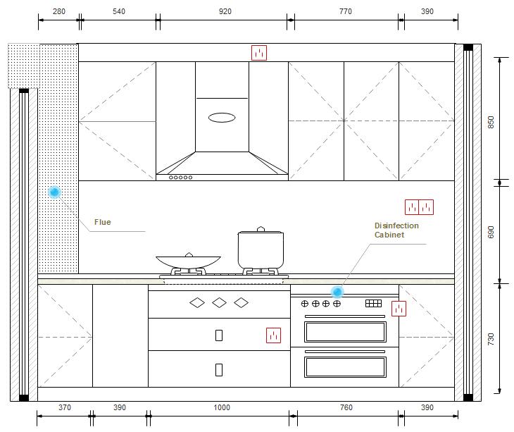 Symbole für Bauplan - Küche und Badzimmer
