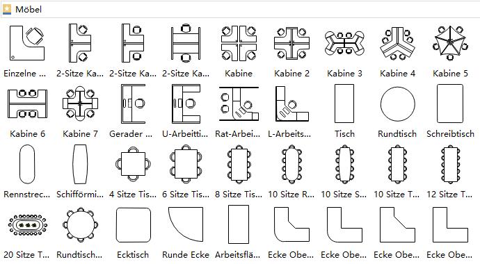 M bel symbole f r zeichnungen der geb udepl ne for Innenarchitektur cad