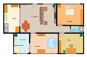 2-Schlafzimmer-Grundriss
