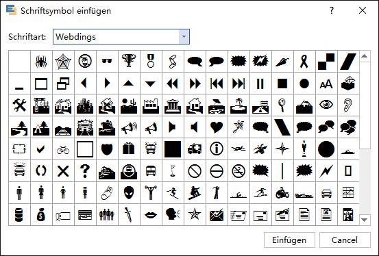 Schriftarten Symbole hinzufügen