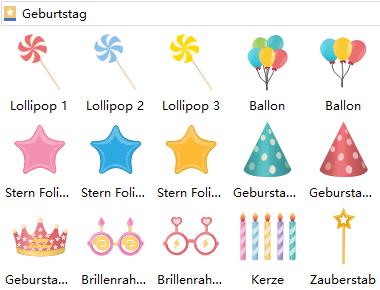 Geburtstagskarte Symbole