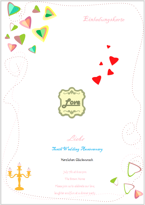 Einladungskarte Bespiele - Einladungskarte für Hochzeitstag