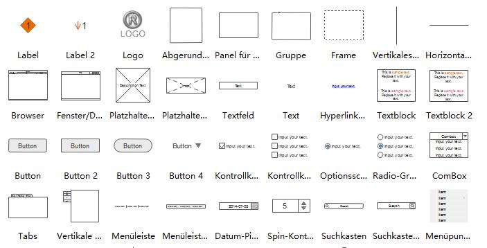 Wireframe Symbole