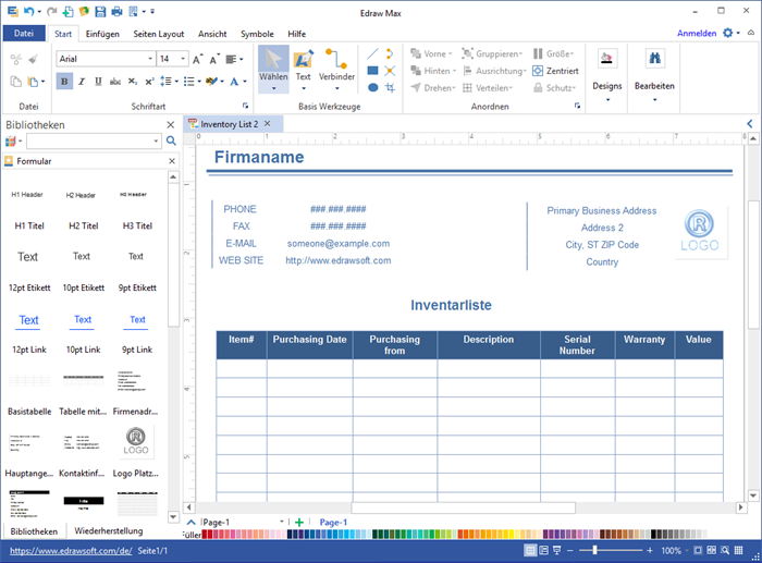 Inventarliste Software - Inventarliste mit Vorlagen rasch erstellen