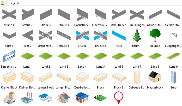 3D Lagepläne symbole