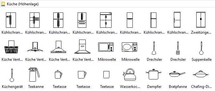 Symbole für Küchengestaltung