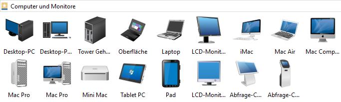 Logische Netzwerkdiagramme - Computer und Monitore