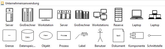 Symbole für Diagramme der Unternehmensanwendung