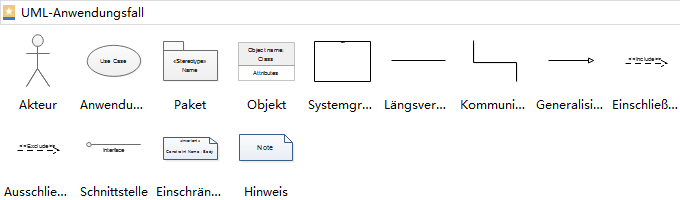 UML Anwendungsfalldiagramm Symbole
