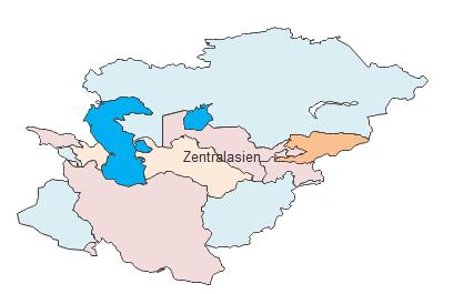 Geographische Karte - Zentralasien