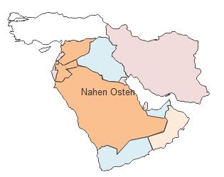 Geographische Karte - Nahen Osten