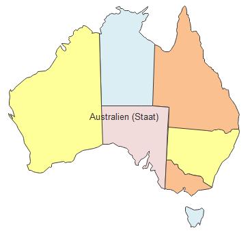 Geographische Karte - Australien (Staat)
