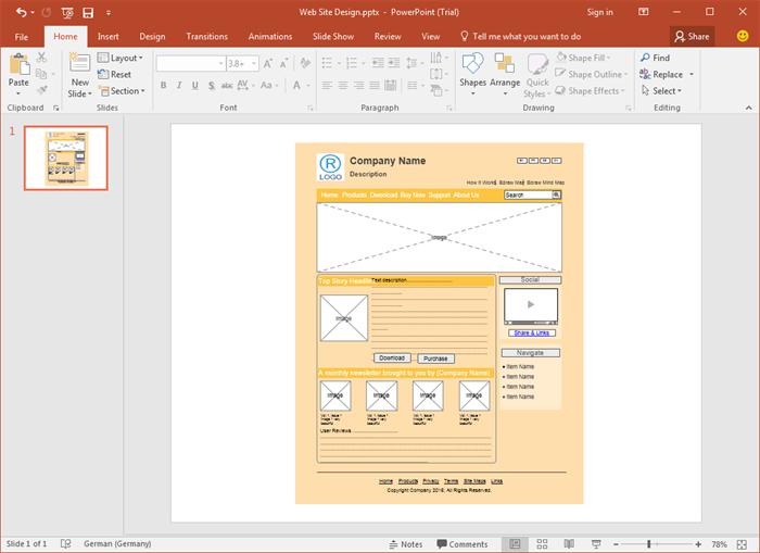PowerPoint Webseite Wireframes Vorlagen