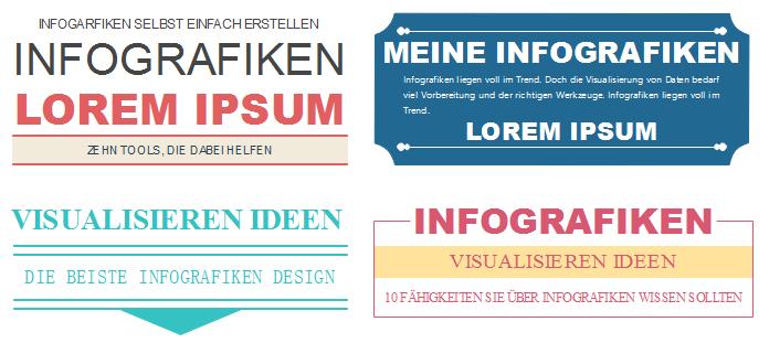 Infografiken Headlines Schriftarten Design