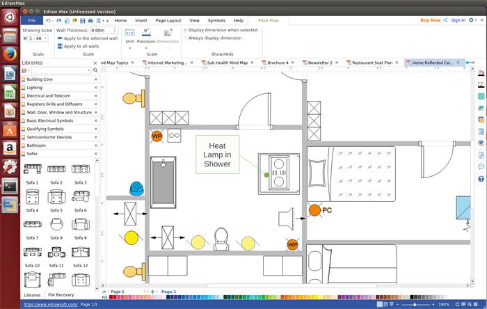 Reflektierte Deckenplan Software für Linux