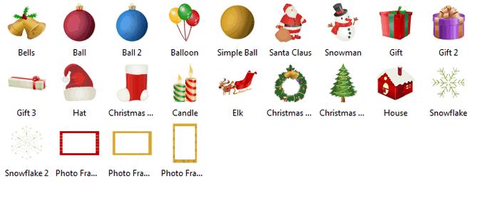 Symbole für Weihnachtstagskarten