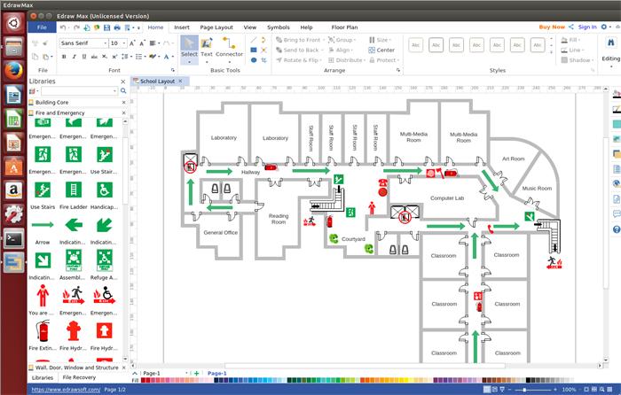 Flucht- und Rettungsplan Software Linux