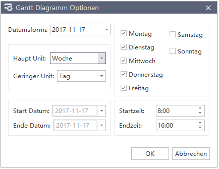 Gantt Diagramm Option MindMaster