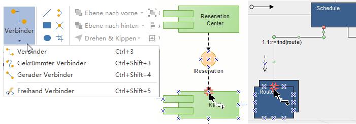 UML-Diagramm-Formen verbinden