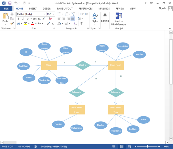 ER Diagram Opened in Word