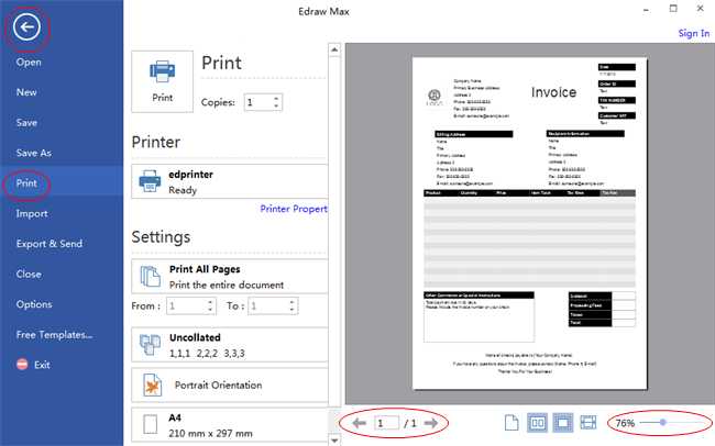 Vista previa e impresión de formulario comercial