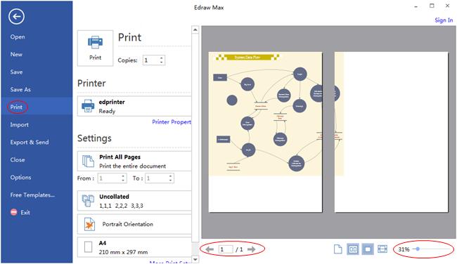 Vista previa e impresión de diagrama de flujo de datos