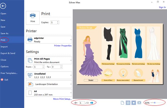 Vista previa e impresión de diseño de moda