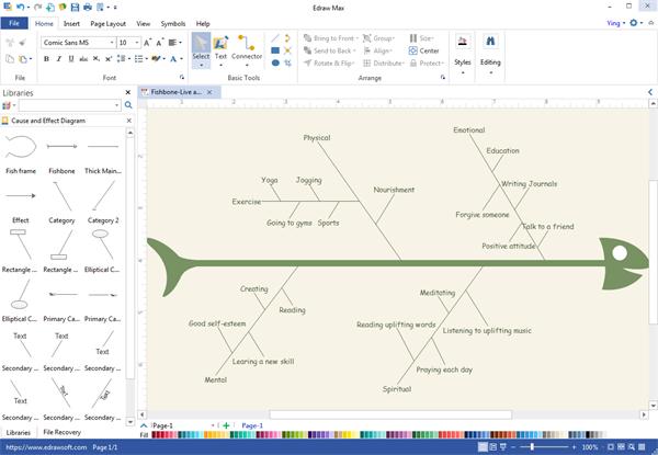 Programa de escritorio de diagrama de espina de pescado