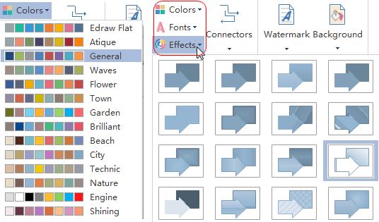 color y efecto de diagrama de flujo