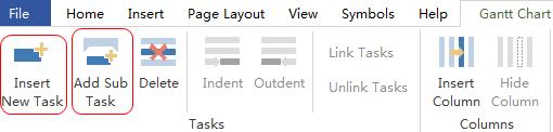 Gantt Chart tab