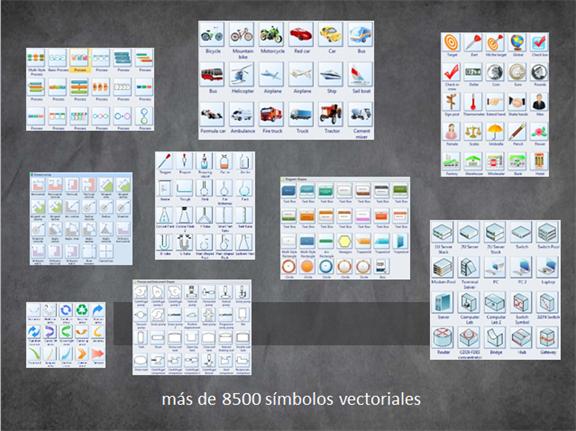 más de 8500 símbolos vectoriales