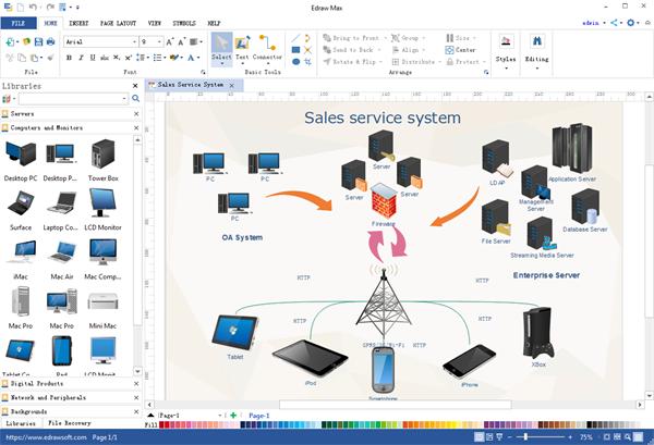 Programa de escritorio de diagrama de red