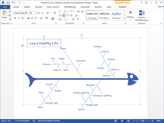 Create fishbone diagram for word ccuart