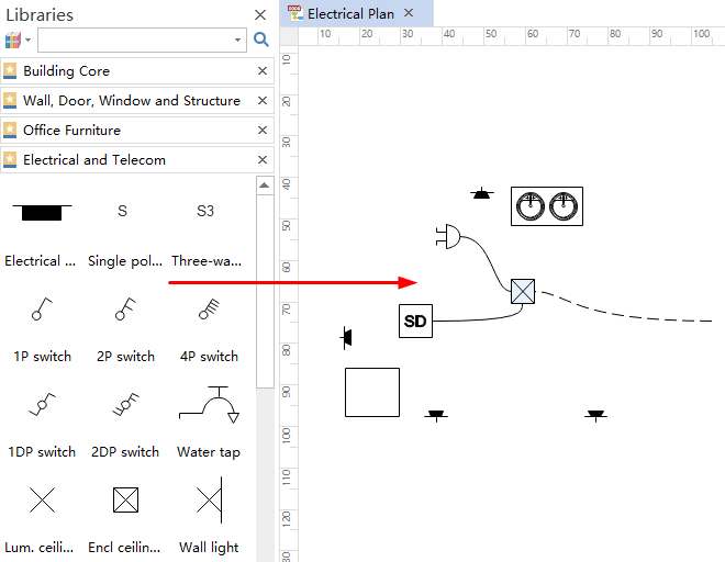 how to create house electrical plan easily drag and drop symbols