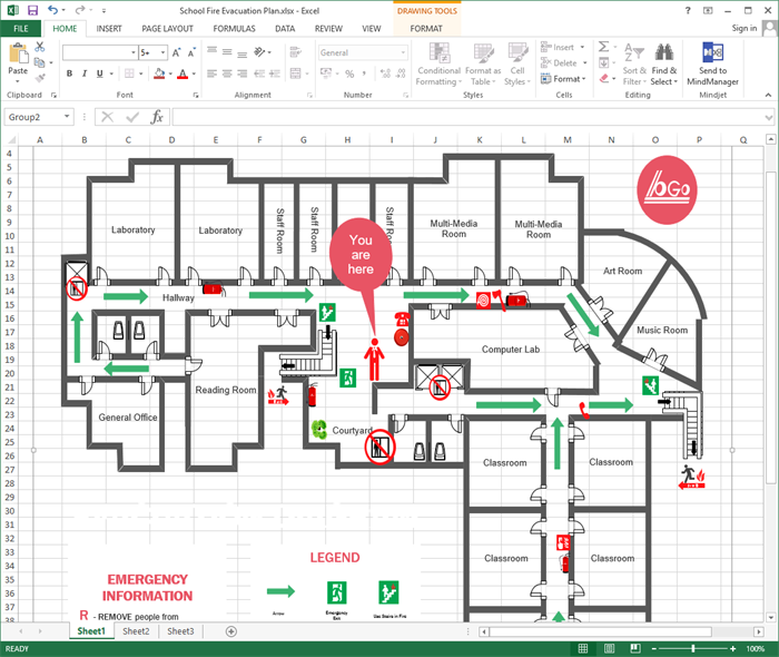 Create evacuation plan for excel for Creation plan