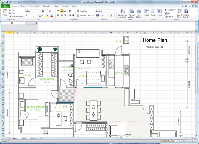 Create floor plan for excel Create house floor plans free