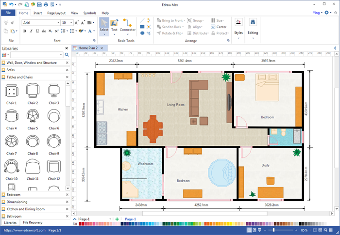 Create floor plan for ppt for Blueprint design software